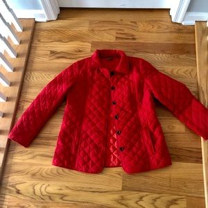 JJill Quilted Red Button Front Light Jacket, Med
